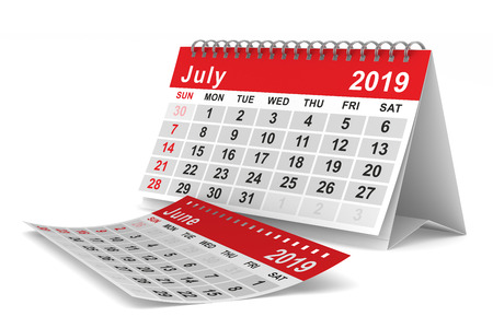 2019 year. Calendar for July. Isolated 3D illustration