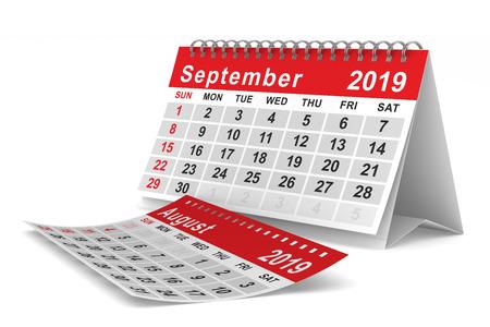 2019 year. Calendar for September. Isolated 3D illustration