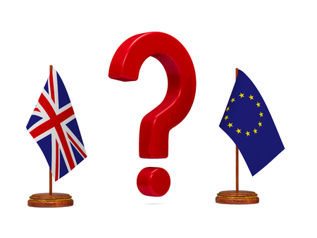 flag EU and  Great Britain and red question on white background. Isolated 3D image