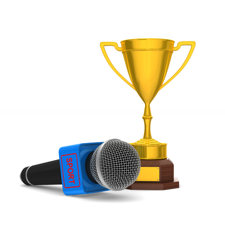 microphone and trophy cup on white background. Isolated 3D illustration.
