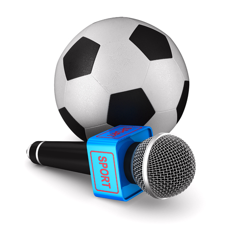 microphone and soccer ball on white background. Isolated 3D illustration Stock Photo