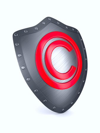 shield with sign copyright on white background. Isolated 3D illustration. Stock Photo