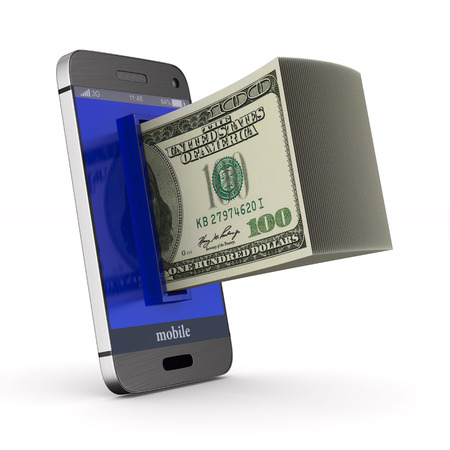 phone and money on white background. Isolated 3D illustration.