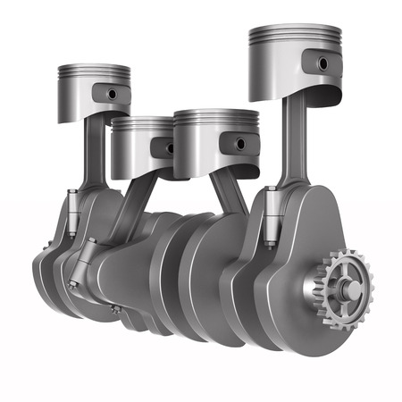 Engine pistons and crankshaft on white background. Isolated 3d illustration Stok Fotoğraf