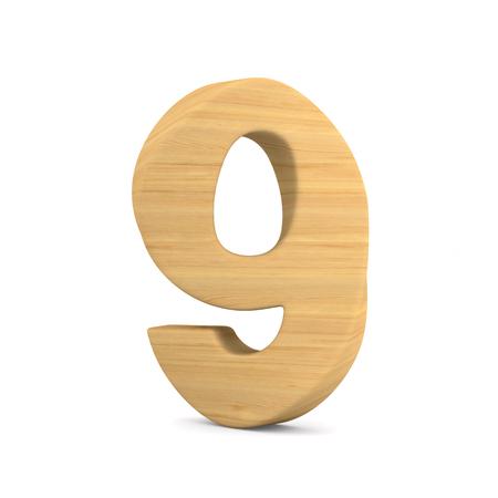 Number nine on white background. Isolated 3D illustration