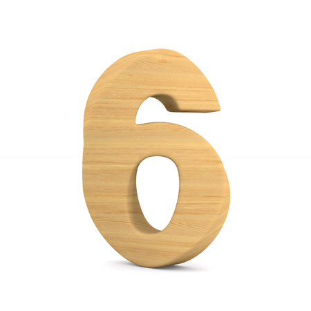 Number six on white background. Isolated 3D illustration Stock Photo