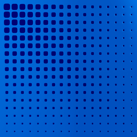 blue perforated panel. 3D illustration