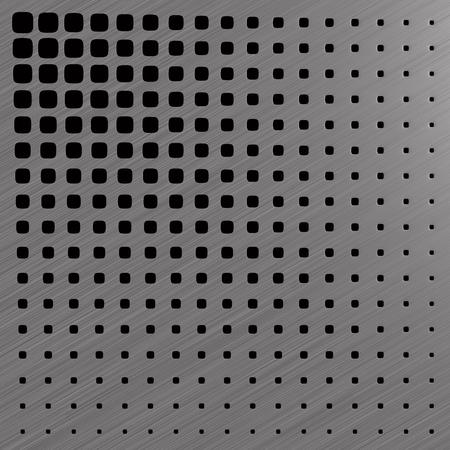 metallic perforated panel. 3D illustration