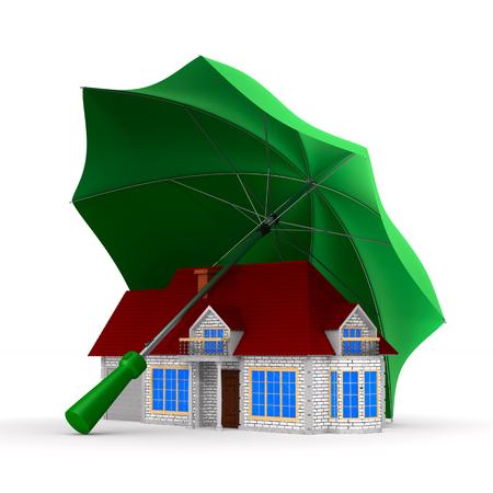 house under umbrella on white background. isolated 3d illustration Stock Photo