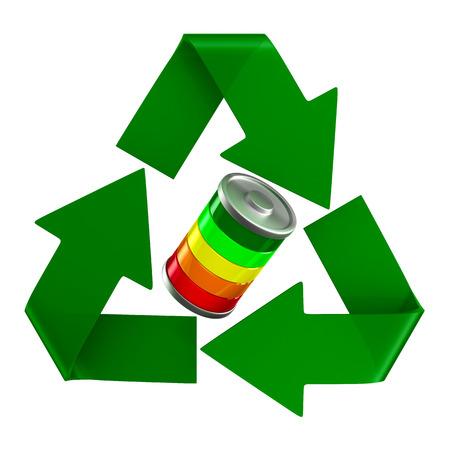 Zeichen recycelt und Batterie auf weißem Hintergrund. Isolierte 3D-Darstellung