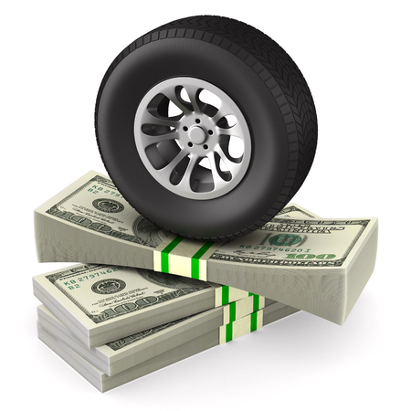 Tire and money on white background. Isolated 3D illustration