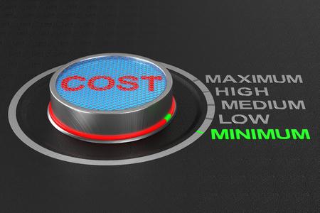 Cost button on dark background. 3D illustration Banco de Imagens