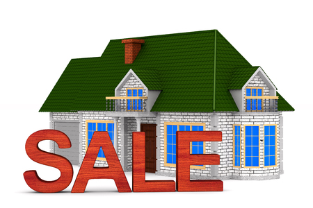 Sale house on white background. Isolated 3D illustration