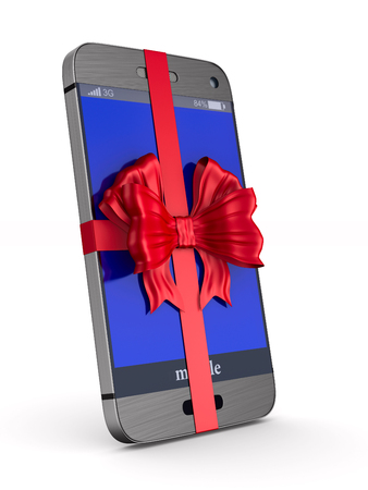 phone with bow on white background. Isolated 3D illustration
