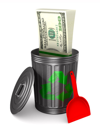 Money into garbage basket on white background. Isolated 3D illustration