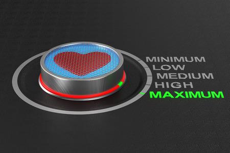 button with heart  on dark background. 3D illustration Banco de Imagens