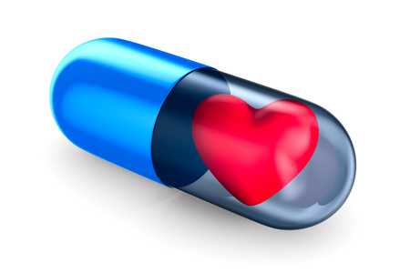 capsule with heart on white background. Isolated 3D illustration