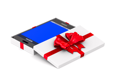 open white gift box with phone on white background. Isolated 3D illustration Stock fotó
