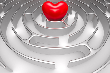 Circle maze and heart on white background. Isolated 3D illustration