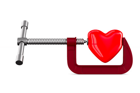 clamp with heart on white background. Isolated 3D illustration