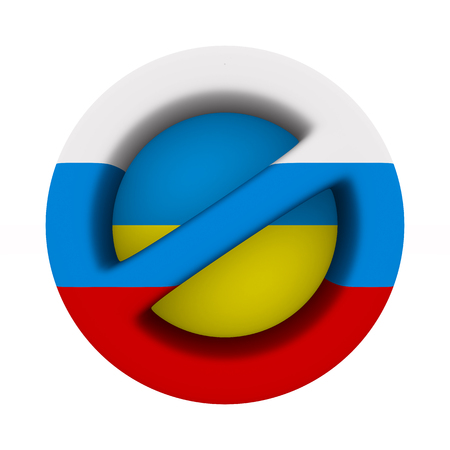 flag russia and ukraine and sign forbidden on white background. Isolated 3D illustration 写真素材