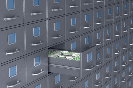 Wall from filing cabinet. Open box with money. 3D illustration