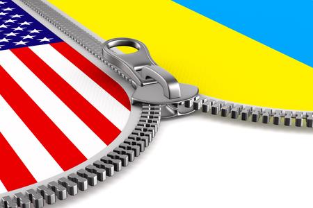 flag USA and Ukraine and zipper. 3D illustration