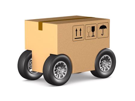 cargo box with wheel on white background. Isolated 3D illustration Stock Photo