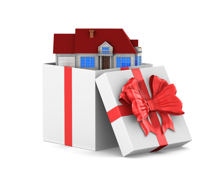 open white gift box and house on white background. Isolated 3D illustration