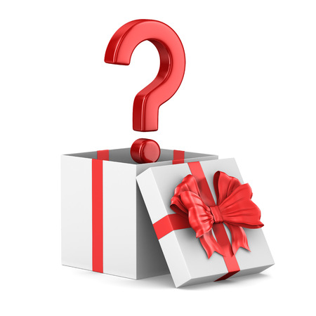 open white gift box and question on white background. Isolated 3D illustration