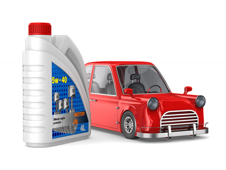 plastic canister motor oil and car on white background. Isolated 3D illustration Banco de Imagens