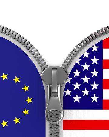 flag EU and USA and zipper. 3D illustration