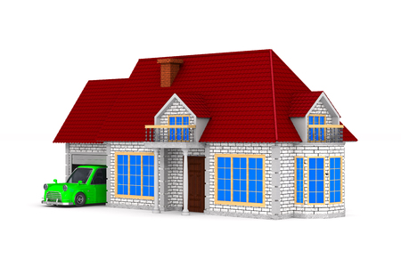 house on white background. Isolated 3D illustration Stock Illustration - 124959879