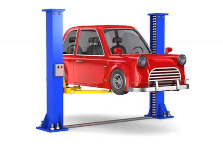 Car service on white background. Isolated 3D illustration