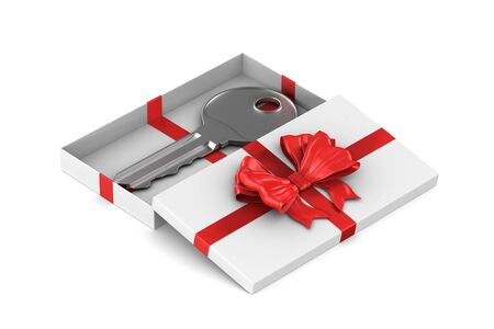 key in gift box on white background. Isolated 3D illustration