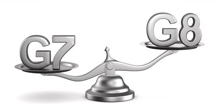 Scales and sign G7, G8 on white background. Isolated 3D illustration Archivio Fotografico - 125058589