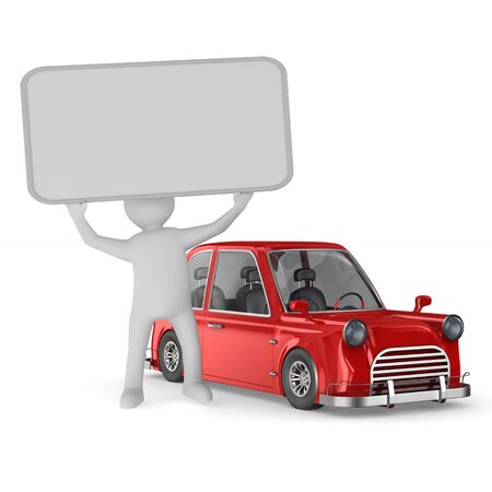 Man with banner and red car on white background. Isolated 3D illustration Reklamní fotografie