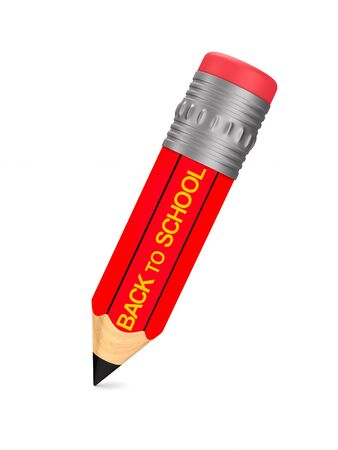wooden pencil with eraser on white background. Back to school. Isolated 3D illustration Banque d'images - 125058597