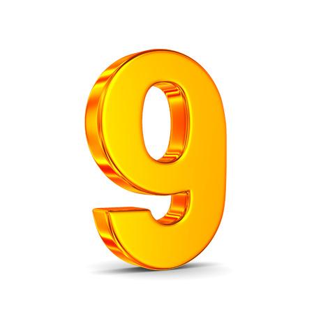 Número nueve sobre fondo blanco. Ilustración 3D aislada Foto de archivo