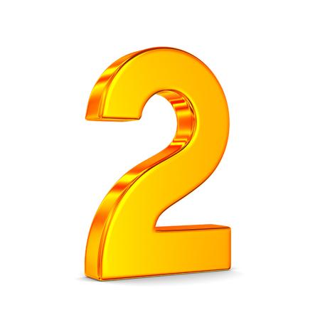 Numero due su sfondo bianco. Illustrazione 3D isolata