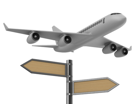 airplane and signpost on white background. Isolated 3D illustration Imagens