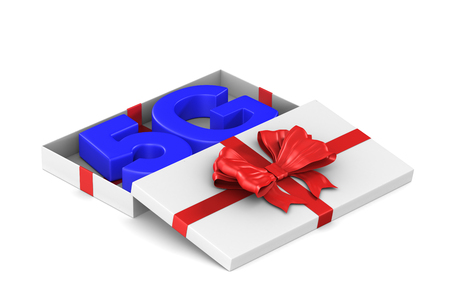 5g network in open gift box on white background. Isolated 3D illustration