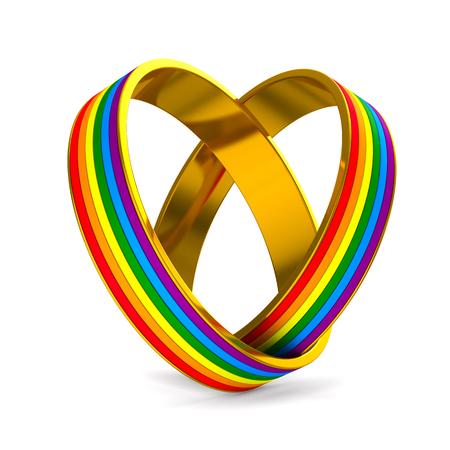 deux anneaux sur fond blanc. Illustration 3D isolée