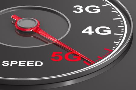 5g network on speedometer. 3D illustration