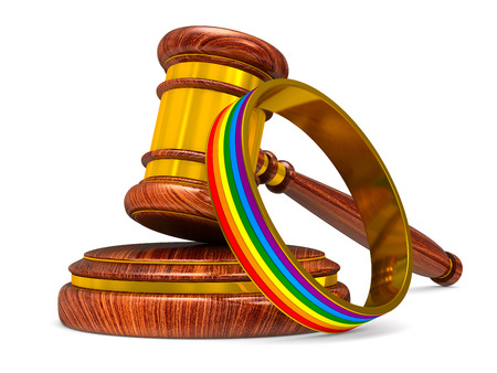 lgbt ring and wooden gavel on white background. Isolated 3D illustration
