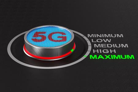 5g network button on dark background. 3D illustration