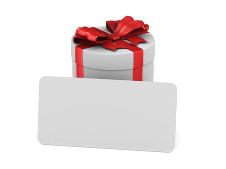 caja blanca con lazo rojo y etiqueta sobre fondo blanco. Ilustración 3D aislada