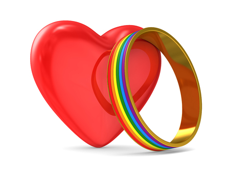 heart and lgbt ring on white background. Isolated 3D illustration