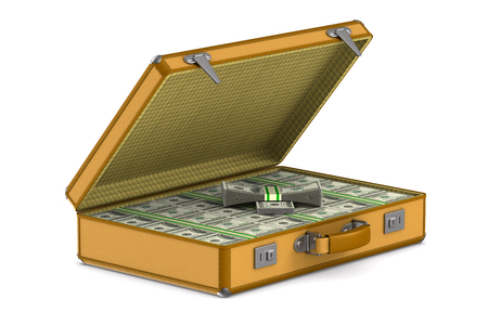 case with cash money on white background. Isolated 3D illustration