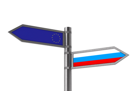 flag EU and Russia on white background. Isolated 3D illustration Фото со стока